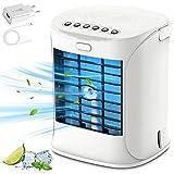 2021 Mobile Klimaanlage, Mini Persönliche Klimaanlage, Portable Air Cooler, 3 Windgeschwindigkeiten und 7 Farben Nachtlicht, Mit QC3.0 Ladegerät und 1,5 m USB-Kabel