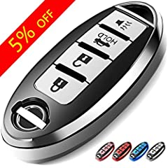 🚗 Fits Model 🚗 This Key Fob Cover is fit for 4 button only Nissan Infiniti Altima Sentra Maxima Rogue Armada Pathfinder 370Z etc Smart 4 Buttons (Please refer to the product details page for specific information). Note: Please DOUBLE CHECK Your Key S...