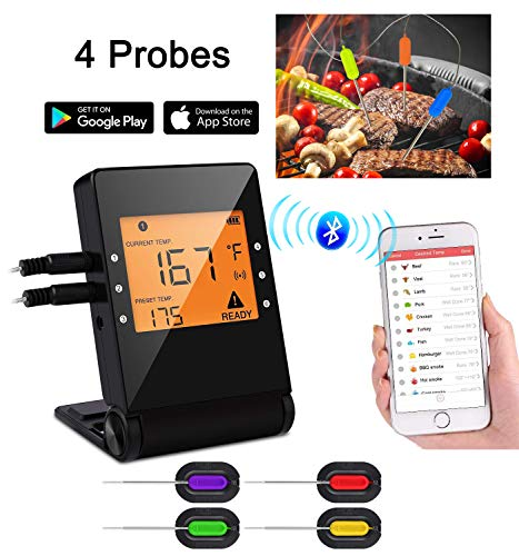 Heesai 1 Meat, Bluetooth Grilling Cooking Food, Wireless Remote Digital Thermometer for Oven Kitchen Smoker BBQ, iPhone & Android Phone, 4 Probes