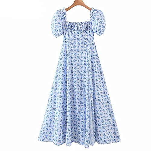 IJARL Vestido largo largo elegante de la impresión floral azul de las mujeres del cuello cuadrado de la manga corta de las rendijas una línea de bata