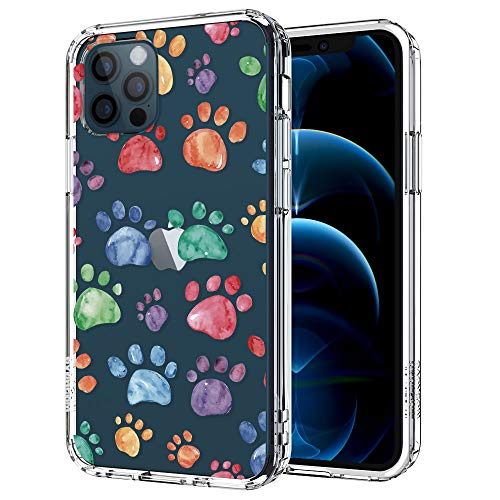 MOSNOVO Dog Paws Pattern Designed for iPhone 12 Case 6.1 Inch/Designed for iPhone 12 Pro Case 6.1 Inch,Clear Case with Design,TPU Bumper with Protective Hard Case Cover