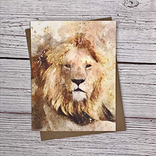 Watercolor Safari Lion - animal notecards - 12 note card gift pack - quality blank greeting, thank you, birthday card