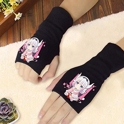 Spricen Anime Fingerless Gloves Guantes sin Dedos Anime Mujer Hombre Invierno La rugiada di Cotone Misto si riferisce ai Colori Autunnali e invernali del pollice Dragon Maid B