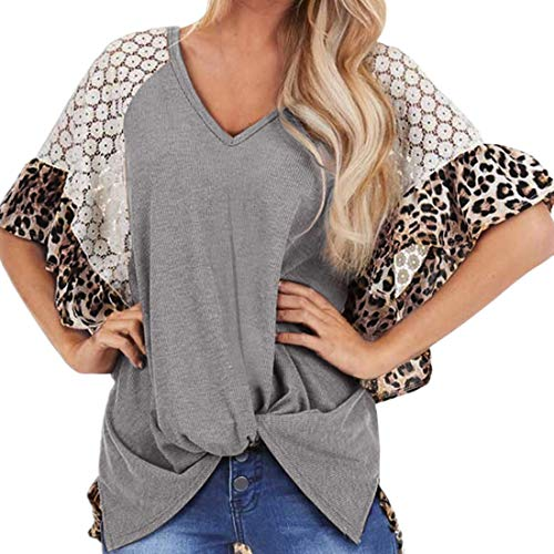 Camiseta de moda para mujer Camiseta de manga raglán de encaje con estampado de calle suelta Tops cortos Blusa Camisas altas y bajas con cinturón raglán con estampado de leopardo Top irregular torcido