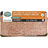 Pederson's Natural Farms, Uncured No Sugar Added Turkey Bacon, 10oz (4 Pack) – Whole 30 Approved, Keto Paleo Diet Friendly, No Nitrite Nitrate, Sugar Free Bacon, Made in the US