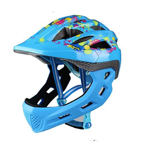 Casco infantil,Casco de bicicleta ajustable Casco integral,con mentón desmontable y 14 ventilaciones Engranaje de los deportes,para niños 3 a 8 años Scooter Patín de ruedas Patinaje,Azul,48~56cm