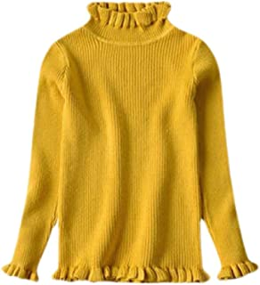 Macondoo Girls Knitwear Pullover Solid Color Crew Neck Fall Winter Jumper Sweater