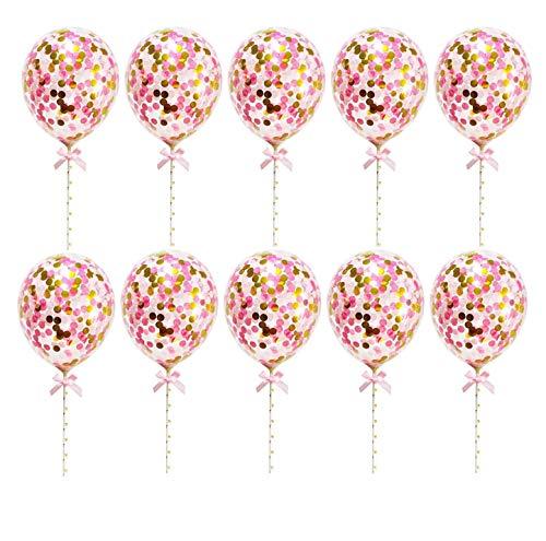 Yalulu 10 Stück Konfetti Luftballons Kuchen Topper Latex Pailletten Luftballons Cupcake Topper Geburtstag Party Dekoration (Rosa)