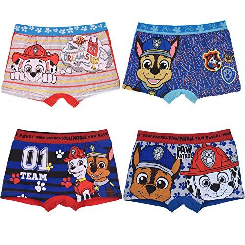 PAW PATROL Jungen 4 er Pack Boxershorts Unterhosen mit unterschiedlichen Motiven (Farbmix 5, 104-110)