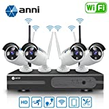 Anni 8CH 720P WLAN Überwachungskamera Set mit HD NVR Kit Wifi Surveillance Systems,4x1.0 MP Megapixel Wetterfestes Wireless Outdoor Bullet IP Kameras,P2P,65ft Nachtsicht,KEINE HDD