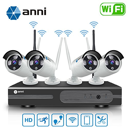Anni 8CH 720P WLAN Überwachungskamera Set mit HD NVR Kit Wifi Surveillance Systems,4x1.0 MP Megapixel Wetterfestes Wireless Outdoor Bullet IP Kameras,P2P,65ft Nachtsicht,KEINE HDD