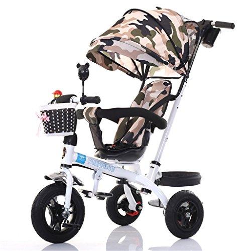 4-en-1 Patrulla de la Pata del Triciclo de los niños, Trolley de la Bicicleta Niños empujan los triciclos para la Bici de la Rueda del bebé 3 con la manija del Padre (Bici Blanca +
