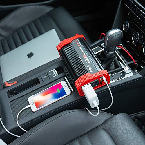 NDDI 600W Car Power Inverter 12V DC to 110V AC Converter with 3.1 A Dual USB Quick Car Charger Adapter
