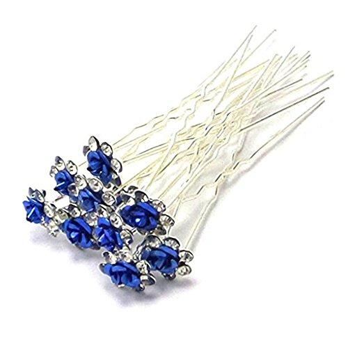 Livecity Forcine per capelli in argento con roselline e cristalli tagliati a diamante, accessori da acconciatura per balli studenteschi e matrimoni