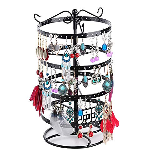 4 Tiers Metal Rotating Earring Organizer Hanger, Creatiee Upgraded 176 Holes Exquisite Jewelry Display Stand Necklace Rack Holder - 12.6x6.3 Inch(Black)