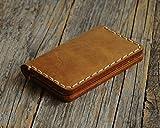 Marrone chiaro portafoglio in pelle. Porta Carte di credito, contanti o carta d'identità. Tasca Unisex in stile rustico. Custodie per tessere.
