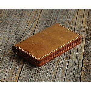 Braunes Leder Ausweishülle Geldbörse Portemonnaie, langlebige Aufbewahrung von ID, Kreditkarten und Banknoten…