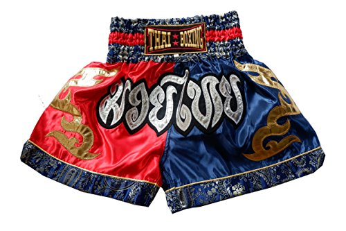 Nakarad Pantalones Cortos de Muay Thai (Rojo/Azul, XXL)