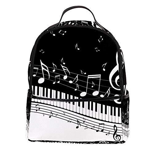 TIZORAX Piano con notas musicales mochila para ordenador portátil, mochila de hombro...