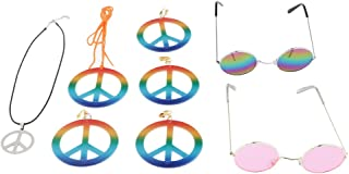 Baoblaze Classic Peace Sign Jewelry Set Hip Hop Pendant Earrings Necklace Costumes