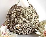 MYMEHI Bolso tote redondo en 9 colores para mujer, bolso de verano a crochet en mezcla de algodón y lino, bolso para hombro estilo bohemio