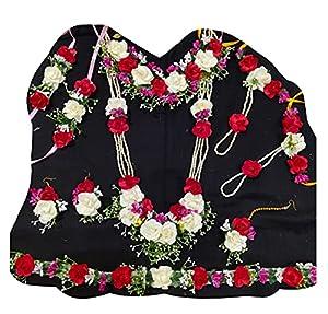 USHA BENTEX Plastic, Paper & Fabric and Pearl Flower Jewellery Full Set for Women (Pink)