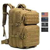 J.CARP Military Tactical Backpack Large 3 Day Assault Pack Army Molle Bug Out Bag, Brown with 4...