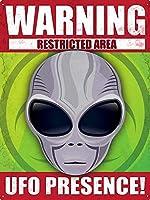 警告UFOの存在 メタルポスタレトロなポスタ安全標識壁パネル ティンサイン注意看板壁掛けプレート警告サイン絵図ショップ食料品ショッピングモールパーキングバークラブカフェレストラントイレ公共の場ギフト