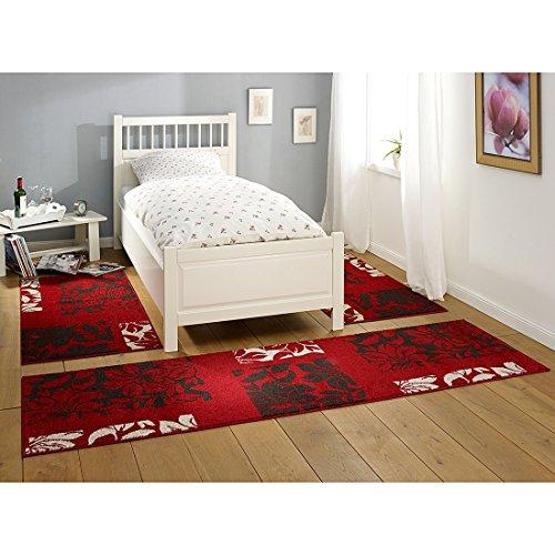 Hanse Home 101537 3-teilig Bettumrandung Teppich Lectus Bettläufer Bettbrücke, Polypropylen, rot dunkelbraun grau, 70 x 140 x 0.8 cm