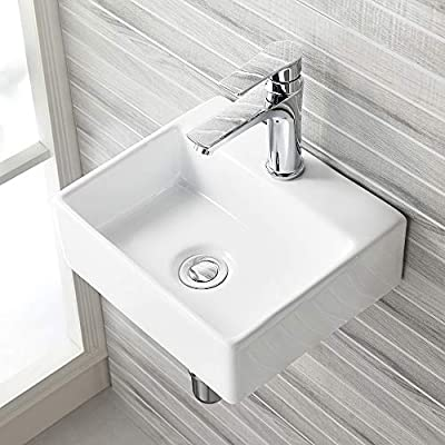 VASOYO Small Wall Mount Corner Bathroom Vessel Sink White Rectangle Porcelain Ceramic Above Counter Vessel Sink Single Faucet Hole Art Basin
