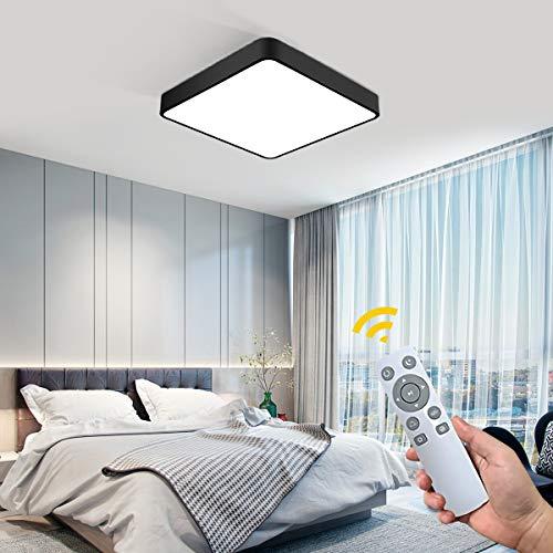 NEWSEE LED Deckenleuchte Deckenlampe Kaltweiß Warmweiß Modern Mit Fernbedienung Deckenleuchten Schlafzimmer Licht Küche Lampen Wohnzimmerlampe Kinderzimmer Lampe IP20 (Schwarz 50X50cm 36W Dimmbar)