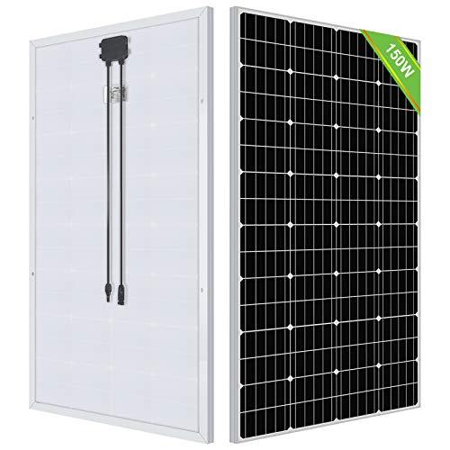 ECO-WORTHY 150 Watt 12 Volt hocheffizientes monokristallines Solarmodul Netzteil für Wohnwagen, Wohnmobil, grünes Haus, Ein-/Aus-Gitter-System erhältlich