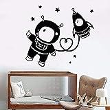 WERWN Astronauta pegatinas de pared de vinilo de dibujos animados estrella espacial cohete decoración de pared creativa pegatinas de habitación de niños interior armario pegatinas de arte