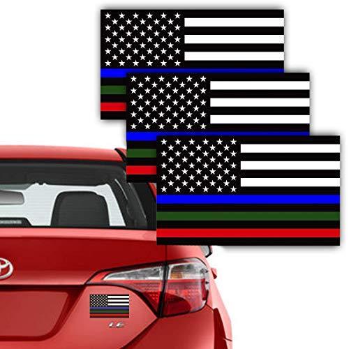 TOTOMO3 팩 푸른 녹색 레드 라인 미국 전사 3X5 반사를 기리는이 경찰 군 불원 범퍼 스티커를 위한 자동차 트럭 SUV&RV JEEP WRANGLER 배 창 액세서리를 USF-06