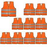 Gogo - Chaleco de seguridad para niños de alta visibilidad, 10 unidades, para disfraz de construcción, para niños de 3 a 15 años