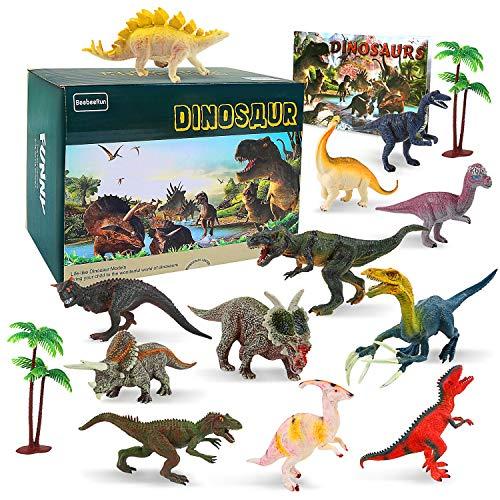 BeebeeRun Dinosauro Giocattolo Set di 15,Dinosauro Giocattoli per Bambini 12 Realistico Forma di Dinosauro+2 Albero+1 Libro dei Dinosauri