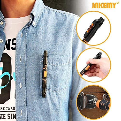 JAKEMY Portable Pocket Pen Screwdriver Set - 2 PACK Precision Screw Driver Multi-Tool Set with Philips and Flat Head Double Ended Magnetic Bits