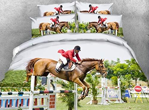 LifeisPerfect *S Horse Racing Series Hombre Mujer a Caballo sábanas Set HD 3D Digital Print Edredón Cubrir Conjunto Completo, Queen, King Hojas Lino