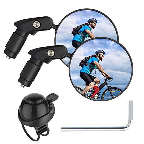 2 Pcs Bike Mirror Handlebar Mount, Adjustable Bike Mirrors for Handlebar End, Rotatable Bicycle Mirrors for Handlebars End Safe Cycling Mirrors for Road Bike, Mountain Bike, Bonus Bicycle Bell (Black)