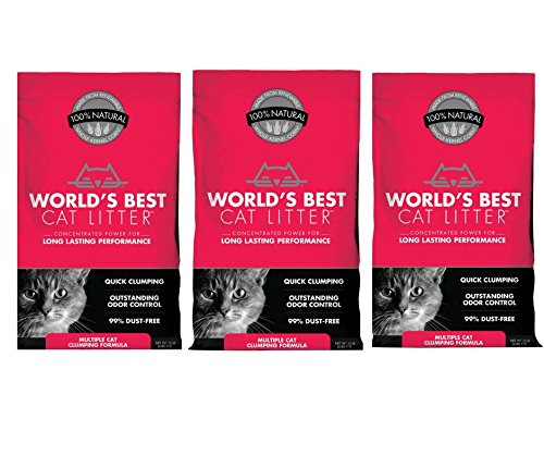World's Best Cat Litter Multiple Cat Clumping Formula, 15 Pound Bag (3 Pack)