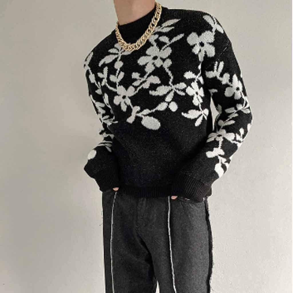 ZYING Winter Thick Flower Sweater Men's Warmth Fashion Retro Casual Knitted Pullover Men Wild Loose Korean Clothes Mens Sweaters (Color : Black)