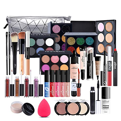 Coffret Maquillage, MKNZOME 37 Pcs Kit Maquillage Femme Professionnel avec trousse de Maquillage Palettes de Maquillage Fard à paupières Brillant à lèvres Ensemble de cadeau d'anniversaire Noël