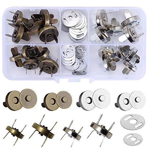 AILANDA 20Pcs Magnetische Knöpfe 14mm/18mm Magnetverschluss Druckknöpfe mit Box Magnetknöpfe für Taschen Nähen Jacken Handwerk Kleidung DIY Silber Bronze