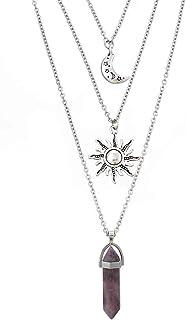 MJartoria Gothic Necklaces Chakra Sun and Moon Charm Pendant Multlayered Alloy Chain Choker Necklace Set Gothic Jewelry