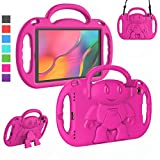 LTROP Kids Case for Samsung Galaxy Tab A 10.1 Tablet 2019 SM-T510/T515, Light Weight Shockproof Shoulder Strap Handle Stand Child-Proof Bumper Case Cover for Galaxy Tab A 10.1 2019 - Hot Pink