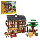 WWEI Modelo modular de casa con bloques de construcción, 838 piezas, bloques de construcción de construcción, escena de granja, juego de construcción, compatible con Lego
