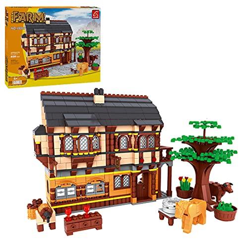 TASS Minecraft Farm Set Modelo 838Pcs Farm Series Haurs Arquitectura Modelo Bricks Compatible con Lego Minecraft