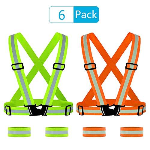 PATAZOK 4 stks Hoge Zichtbaarheid Reflecterende vesten Verstelbare Veiligheid Gear Elastische Armbanden Riem Taillebanden voor Nacht Outdoor Running Fietsen Motorfiets Hond Wandelen (Green&Orange)
