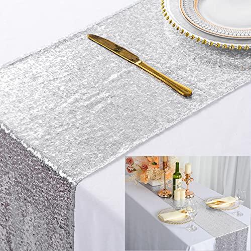 ShinyBeauty, runner da tavolo con paillettes, colore argento, 30 x 180 cm, decorazione per tavolo da...