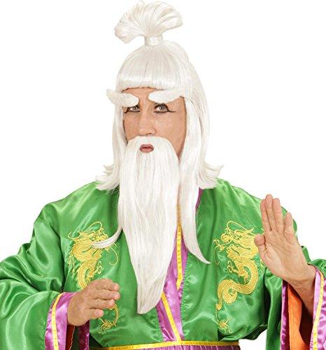 Widmann S6938 – pruik met baard, snor en wenkbrauwouden Chinees, wit, in één maat
